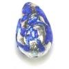 Glass Lamp Bead Pear 13x9mm Crystal/Sapphire